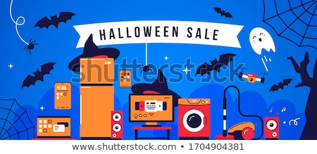 halloween sale vector illustration with spider and holiday elements on wood texture background desi stock photo © articular