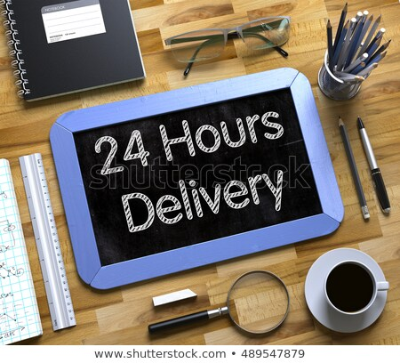 Small Chalkboard with 24 Hours Delivery. 3D. Stock photo © tashatuvango