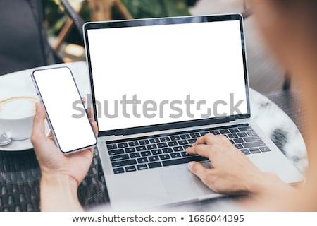 Laptop képernyő mobil marketing modern munkahely Stock fotó © tashatuvango