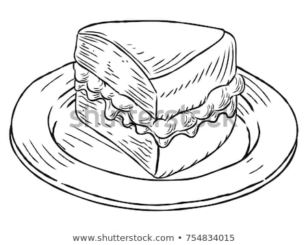 Victoria Sponge Cake Vintage Retro Woodcut Style Stock photo © Krisdog