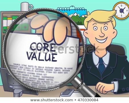 Rdzeń wartość lupą gryzmolić papieru działalności Zdjęcia stock © tashatuvango
