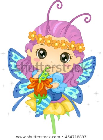 Kid Girl Butterfly Drink Pollen Stock photo © lenm