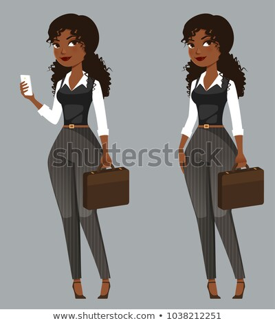 Stok fotoğraf: Cute Young African American Woman With Mobile Phone Vector Illus