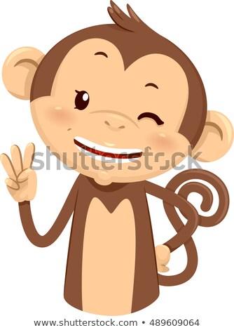 mascot monkey count three 3 stock photo © lenm