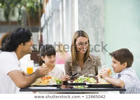 Közel-keleti család élvezi étel étterem lány Stock fotó © monkey_business