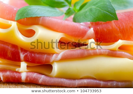 Plate of cured ham and cheese on table Stock photo © IS2