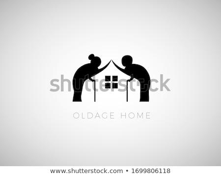 maison · de · retraite · vecteur · eps · femme · maison · signe - photo stock © djdarkflower