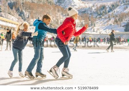 Anne çocuk buz pateni örnek kar eğlence Stok fotoğraf © adrenalina