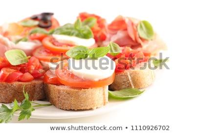 Bruschetta blanco fondo petróleo tomate brindis Foto stock © M-studio
