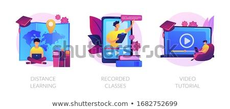Studenten kijken college hoogleraar praten tablet Stockfoto © RAStudio