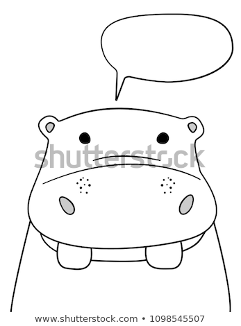 Cartoon Hippo Silhouette Talking Stock photo © cthoman