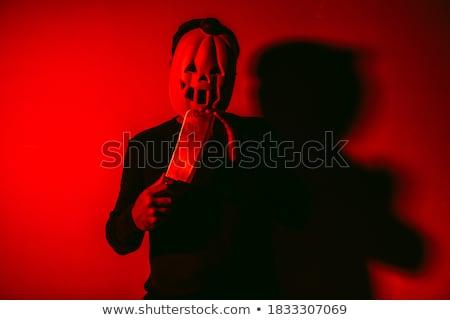 louco · açougueiro · louco · insano · coberto · sangue - foto stock © nito