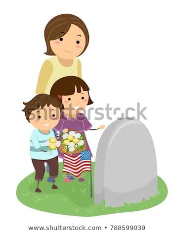 Menina grave dia flores ilustração Foto stock © lenm