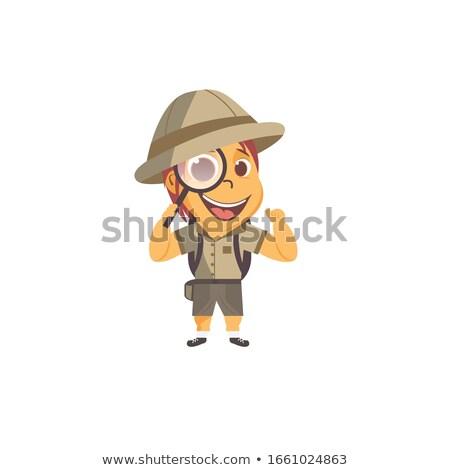 Gyerekek felfedező fű illusztráció jelmez ül Stock fotó © lenm