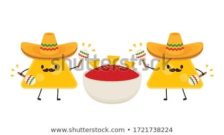 Salsa Mascot Ingredients Illustration Stock photo © lenm