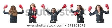 Vrouw zakenvrouw bokshandschoenen witte kantoor hand Stockfoto © Elnur