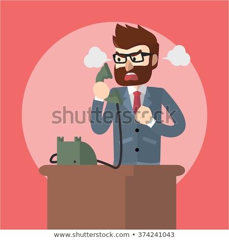 mérges · üzletember · kiált · telefon · fehér · póló - stock fotó © minervastock