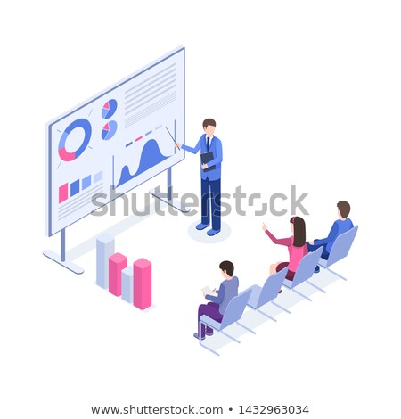 Office Worker with Plan on Board Isometric Vector Stock photo © robuart