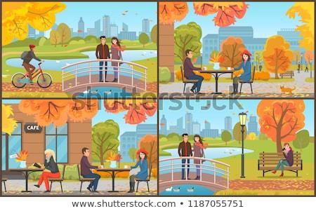 couple standing on bridge biker and man vector stock photo © robuart
