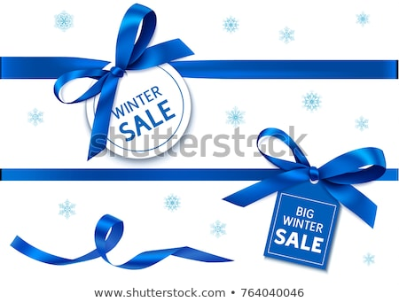 realistic blue bow with horizontal blue ribbons isolated on white element for decoration gifts gre stock photo © olehsvetiukha
