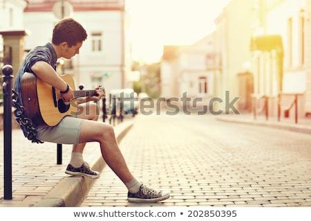 Adolescente nino jugando guitarra acústica retrato espacio Foto stock © boggy