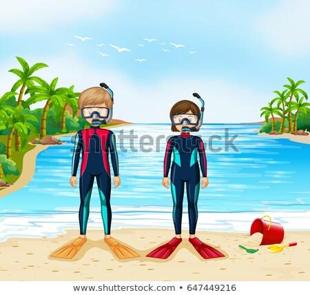 Due scuba piedi spiaggia illustrazione donna Foto d'archivio © colematt