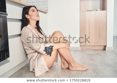 Upset Woman Leaning On Kitchen Counter Stock photo © AndreyPopov