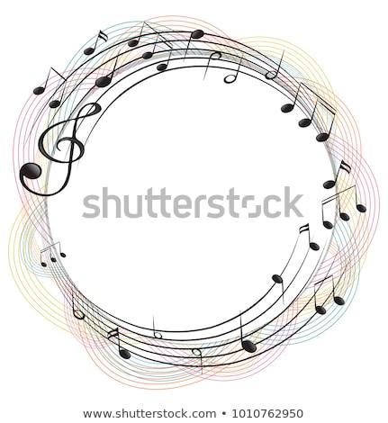 Foto stock: Quadro · modelo · notas · musicais · círculo · ilustração · papel