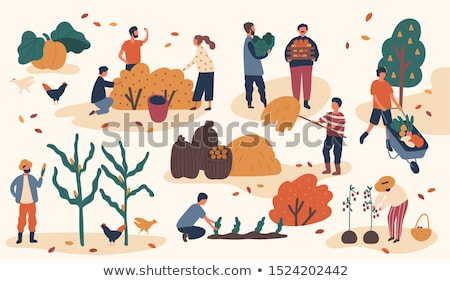Woman and Man on Land Set Vector Illustration Stock photo © robuart