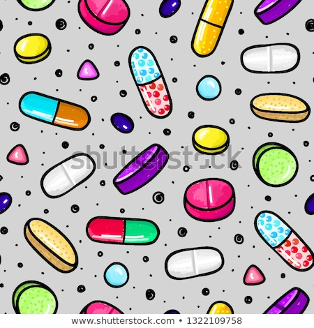 Lot of colorful pills and capsules. Dietary supplements. Healthy lifestyle. Alcohol markers style. D Stock photo © user_10144511