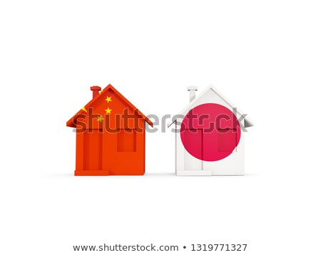 two houses with flags of china and japan stock photo © mikhailmishchenko