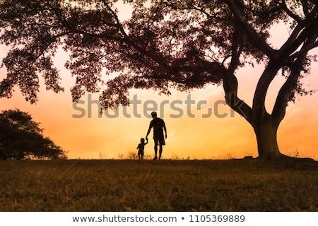 kinderen · holding · handen · silhouetten · meisje · menigte · vrienden - stockfoto © colematt