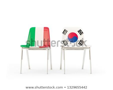 Iki sandalye bayraklar İtalya Güney Kore yalıtılmış Stok fotoğraf © MikhailMishchenko