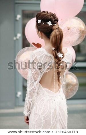 jong · meisje · bos · Rood · ballonnen · leuk - stockfoto © studiolucky