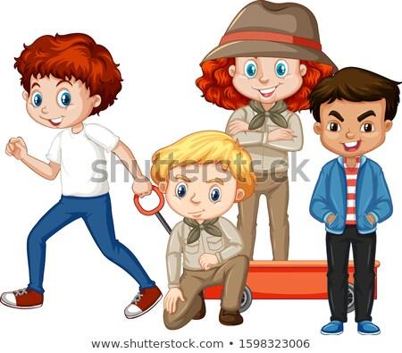 Design vier glücklich Kinder Warenkorb Illustration Stock foto © colematt