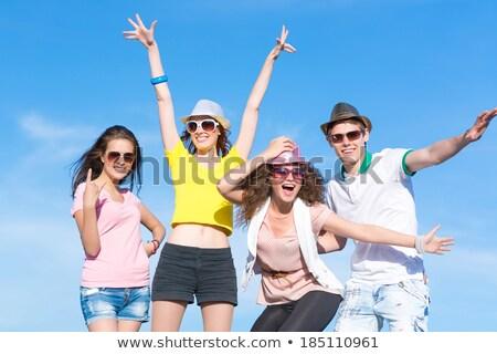 Glücklich junge Mädchen Sommer hat Picknick Park Stock foto © deandrobot