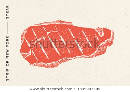 Steak, Strip or New York. Poster with steak silhouette, text Stock photo © FoxysGraphic