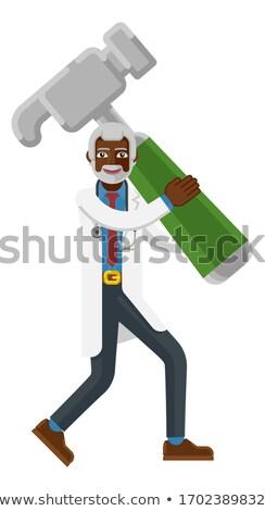Mature Doctor Man Holding Hammer Mascot  Stock photo © Krisdog
