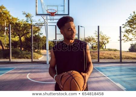 çekici siyah adam ayakta spor mahkeme Stok fotoğraf © boggy