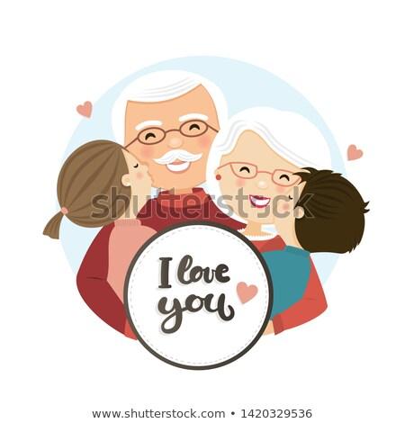 счастливым дедушка и бабушка день сцена семьи обнять Сток-фото © Imaagio