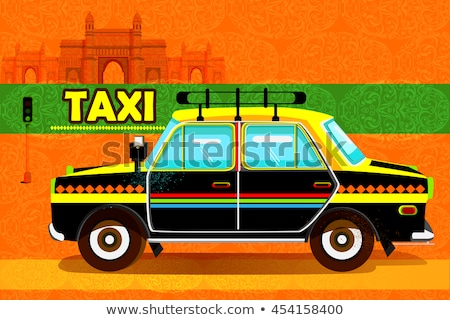 Color vintage taxi poster Stock photo © netkov1