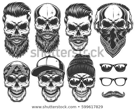 Skull with beard on headphone Stock photo © jossdiim