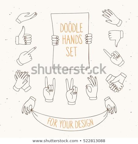 Człowiek gest kciuk palec w górę gryzmolić Zdjęcia stock © pikepicture