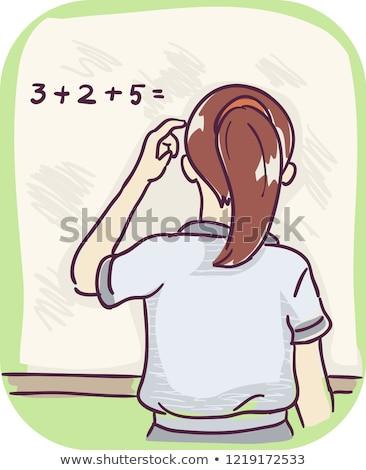 Menina número problemas ilustração criança cabeça Foto stock © lenm
