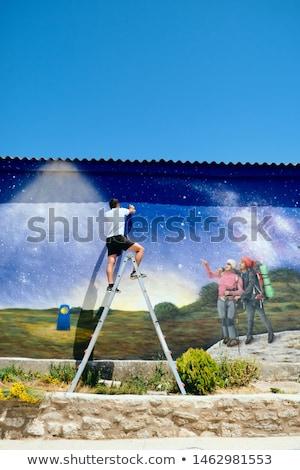 человека Живопись граффити Сантьяго молодые художник Сток-фото © diego_cervo