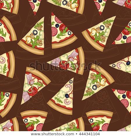 vector · plakje · Italiaans · pizza · plaat · voedsel - stockfoto © netkov1