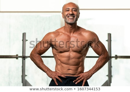 Hipster Grandfather in Gym, Old Male Bodybuilder Stock photo © robuart
