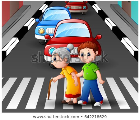 Сток-фото: Old Woman Crossing Roadway Pedestrian Vector
