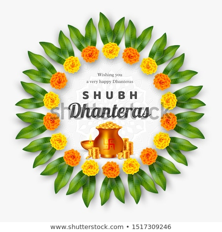 happy dhanteras hindu festival banner with gold coin pots Stock photo © SArts
