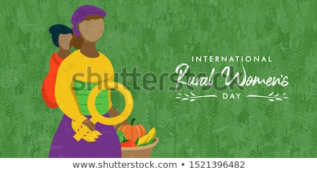 rural women day card woman worker with basket stock photo © cienpies